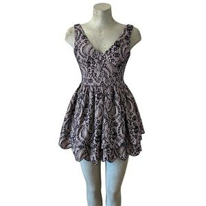 Bebe | Bonded Tiered Lace Flare Mini Dress